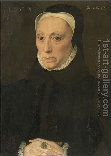 Portrait Of A Lady, Aged 50 by Netherlandish School - Reproduction Oil Painting