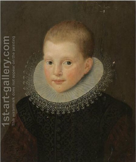 Portrait Of A Young Boy, Bust-Length, In A Black Costume With A White Ruff by Dutch School - Reproduction Oil Painting