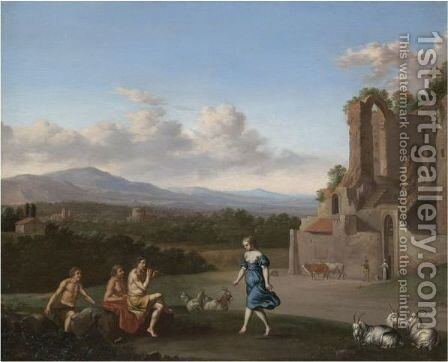 A Pastoral Landscape With A Shepherd Playing The Flute And A Girl Dancing, With Other Shepherds Watching by Daniel Vertangen - Reproduction Oil Painting
