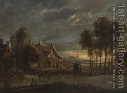 A River Landscape At Sunset With Figures Conversing Before A House by Anthonie van BORSSUM - Reproduction Oil Painting
