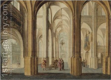 A Church Interior With Alexander The Great Cutting The Gordian Knot by Hans Juriaensz. Van Baden - Reproduction Oil Painting