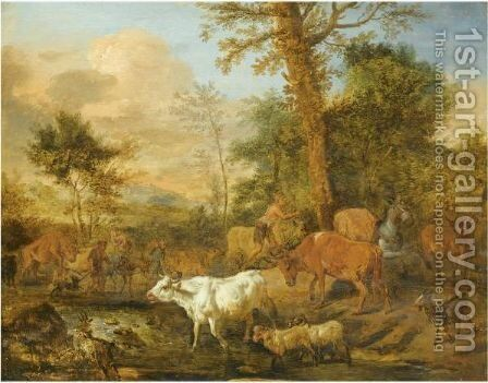 A Landscape With Herdsmen Crossing A Stream With Their Herd by (after) Adriaen Van De Velde - Reproduction Oil Painting