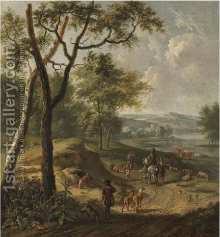 A Dune River Landscape With Huntsmen And A Shepherd On A Track by (after) Jan Wijnants - Reproduction Oil Painting