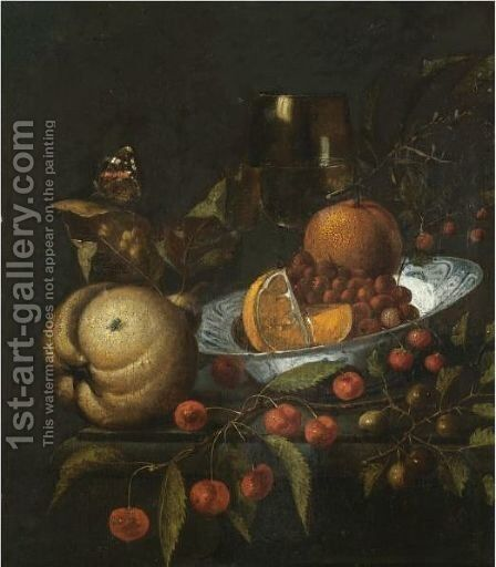 A Still Life With Oranges And Wild Strawberries In A Blue And White Porcelain Bowl by Marten Nellius - Reproduction Oil Painting