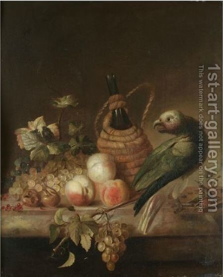 A Still Life With A Parrot, Together With A Flagon Of Wine, A Bunch Of Grapes, Peaches And Redcurrants On A Marble Ledge by Barend or Bernardus van der Meer - Reproduction Oil Painting