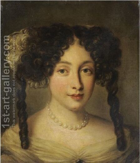Portrait Of A Lady, Bust-Length, Wearing A Pearl Necklace by (after) Jacob Ferdinand Voet - Reproduction Oil Painting