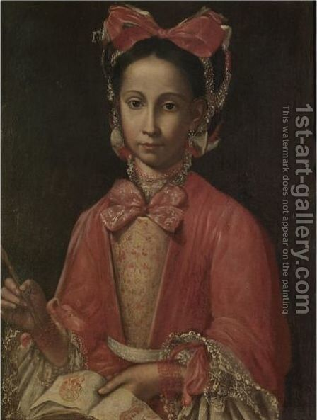 Portrait Of A Lady, Said To Be Francesca Gornia, Wife Of Francesco Del Veglia by Neapolitan School - Reproduction Oil Painting