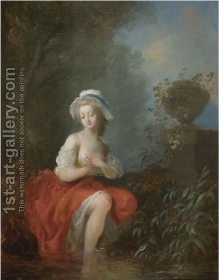 A Young Lady Bathing by Jean-Frederic Schall - Reproduction Oil Painting