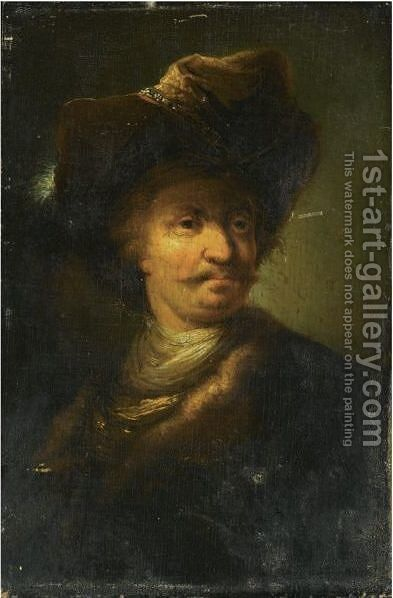 Portrait Of A Gentleman, Bust-Length, Wearing A Feathered Hat by (after) Christian Wilhelm Ernst Dietrich - Reproduction Oil Painting