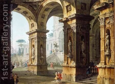 Capriccio With Elegant Figures by Antonio Joli - Reproduction Oil Painting