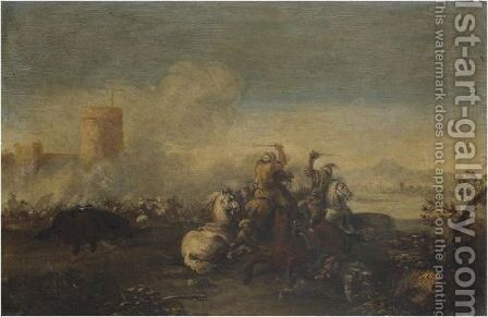 A Cavalry Battle 2 by (after) Francesco Graziani, Called Ciccio Napoletano - Reproduction Oil Painting