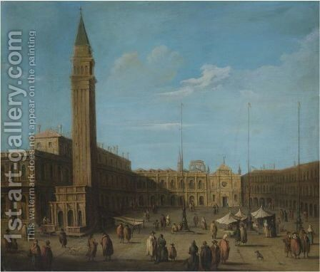 Venice, A View Of Piazza Di San Marco by (after) Francesco Guardi - Reproduction Oil Painting