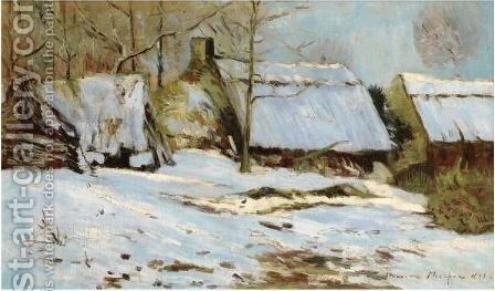Chaumieres Sous La Neige by Maxime Maufra - Reproduction Oil Painting