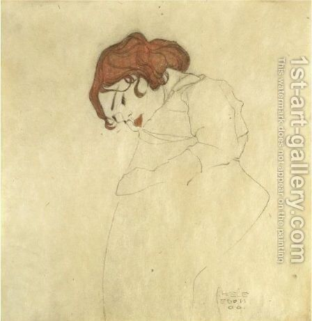 Sleeping Girl 2 by Egon Schiele - Reproduction Oil Painting
