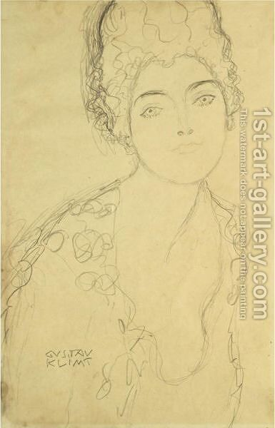 Bust Of A Lady, Frontal View by Gustav Klimt - Reproduction Oil Painting