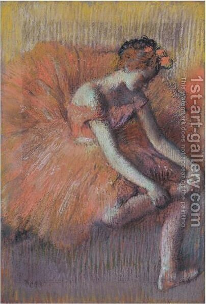 Danseuse Rajustant Sa Sandale by Edgar Degas - Reproduction Oil Painting
