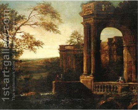 Landscape With Classical Pavilion by (after) Tommaso Costa - Reproduction Oil Painting