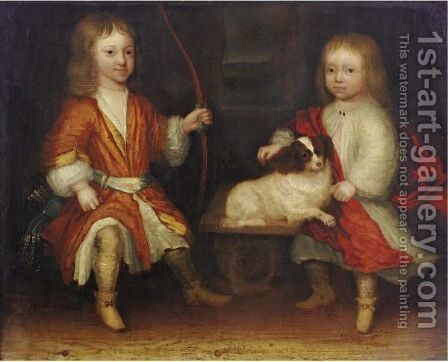 Portrait Of Two Children With Their Dog by Dutch School - Reproduction Oil Painting