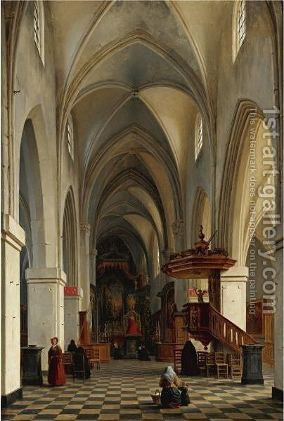 Interior Of A Cathedral by Hyppolyte Victor Valentin Sebron - Reproduction Oil Painting