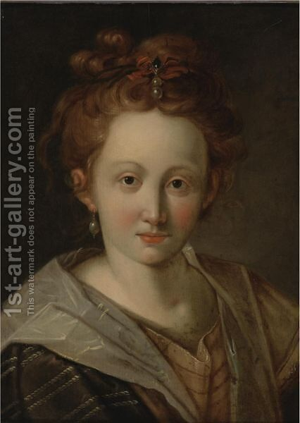 Portrait Of A Girl, Possibly The Artist's Daughter by (after) Hans Von Aachen - Reproduction Oil Painting