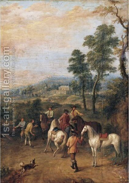 A View Of A Country Estate With Elegant Horseman In The Foreground by (after) Jan Peeter Verdussen - Reproduction Oil Painting