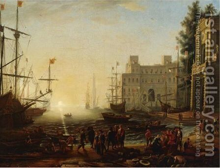 Bustling Port With The Villa Medici by (after) Claude Lorrain (Gellee) - Reproduction Oil Painting