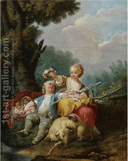 A Young Shepherd And Shepherdess Seated In A Pastoral Landscape by (after) Jean-Baptiste Huet I - Reproduction Oil Painting