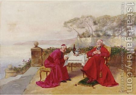 Teatime On The Balcony by Alfred Charles Weber - Reproduction Oil Painting