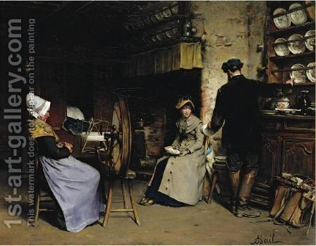 Her Future Dowry by Antoine Jean Bail - Reproduction Oil Painting
