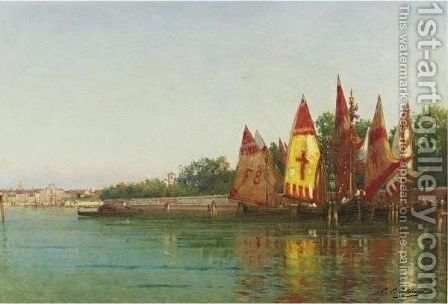 Sailboats In Venice by Charles Clement Calderon - Reproduction Oil Painting