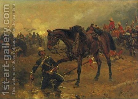 The Wounded Ally by Alphonse Marie de Neuville - Reproduction Oil Painting