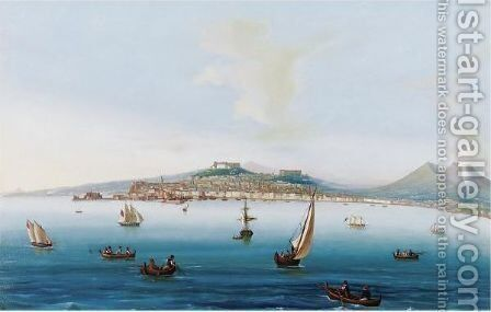Bay Of Naples With Mount Vesuvius by Neapolitan School - Reproduction Oil Painting