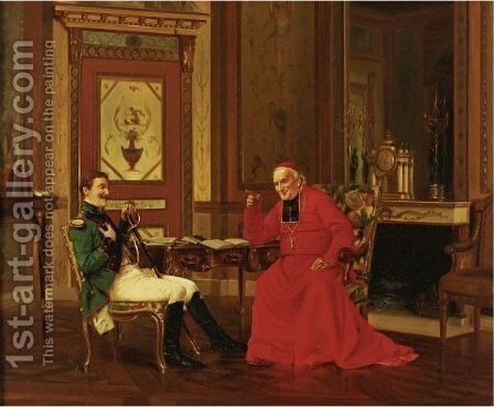 An Audience With The Cardinal by Alfred Charles Weber - Reproduction Oil Painting