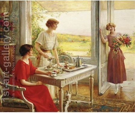 Time For Tea by Albert Lynch - Reproduction Oil Painting