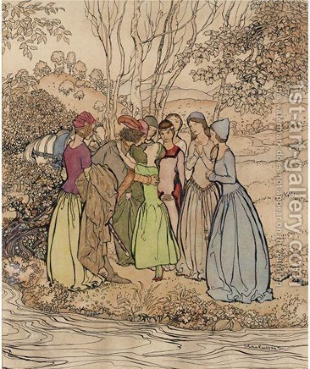 British Ballads  Knight And Ladies by Arthur Rackham - Reproduction Oil Painting