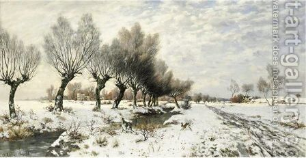 A Rabbit In The Snow by Jacob Oxholm Schive - Reproduction Oil Painting