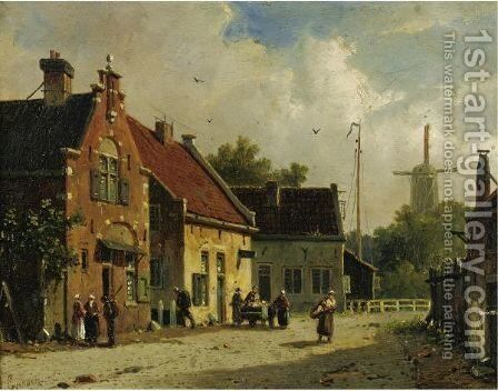 Village Street, Windmill In The Distance by Adrianus Eversen - Reproduction Oil Painting
