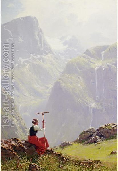 High In The Mountains by Hans Dahl - Reproduction Oil Painting