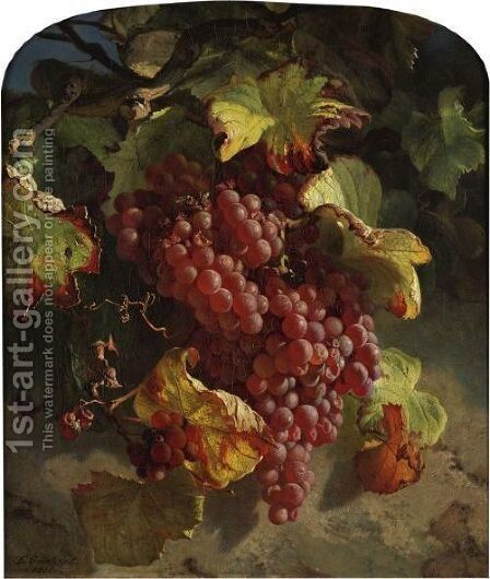 Grapes On A Vine by Theude Gronland - Reproduction Oil Painting