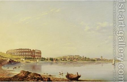 View Of Pula With The Roman Arena, Istria by Johann Friedrich August Tischbein - Reproduction Oil Painting