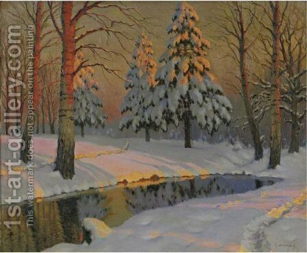 Winter Shadows by Mikhail Markianovich Germanshev - Reproduction Oil Painting
