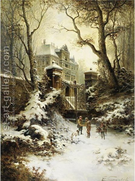 At The Gates Of An Estate by E. Lermontoff - Reproduction Oil Painting