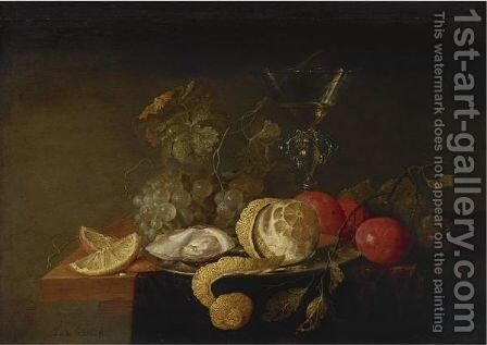 Still Life With A Peeled Lemon, Orange Slices, An Oyster, Plums, Grapes And A Facon-De-Venise Glass Filled by Jan Davidsz. De Heem - Reproduction Oil Painting