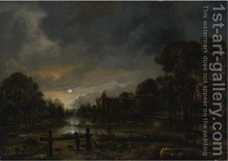 Moonlit River Landscape With Cottages On The Wooded Banks by Aert van der Neer - Reproduction Oil Painting