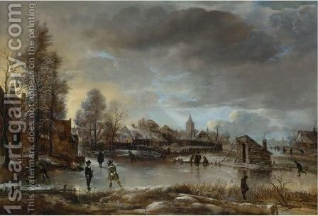 Winter Landscape With Kolf Players And Skaters On A Frozen Canal by Aert van der Neer - Reproduction Oil Painting