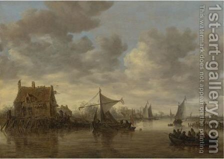 The Oude Wachthuis On The Kil Near Dordrecht With Small Ships And A Ferry by Jan van Goyen - Reproduction Oil Painting