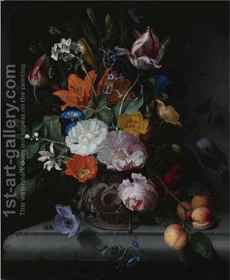 A Still Life Of Flowers And A Branch Of Peaches In A Sculpted Vase, Standing On A Ledge by Jacob van Walscapelle - Reproduction Oil Painting