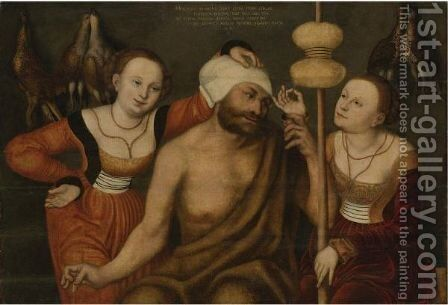 Hercules And Omphale 2 by (after) Lucas The Elder Cranach - Reproduction Oil Painting