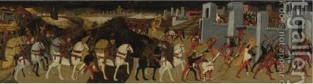 A Battle Before A Walled City, Perhaps The Siege Of Assisi by Apollonio di Giovanni - Reproduction Oil Painting