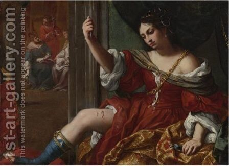 Portia Wounding Her Thigh by Elisabetta Sirani - Reproduction Oil Painting